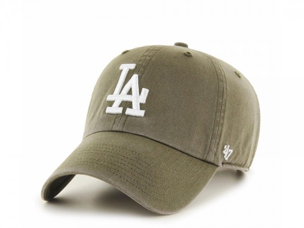 47Brand Los Angeles Dodgers Clean Up Washed Olive Strapback Cap