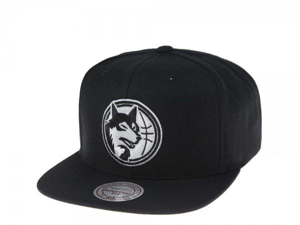Mitchell & Ness Minnesota Timberwolves Black and White Team Snapback Cap