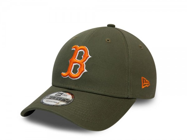 New Era Boston Red Sox Olive Orange 9Forty Strapback Cap