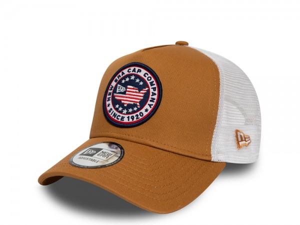 New Era NE Star Patch Brown A Frame Trucker Cap