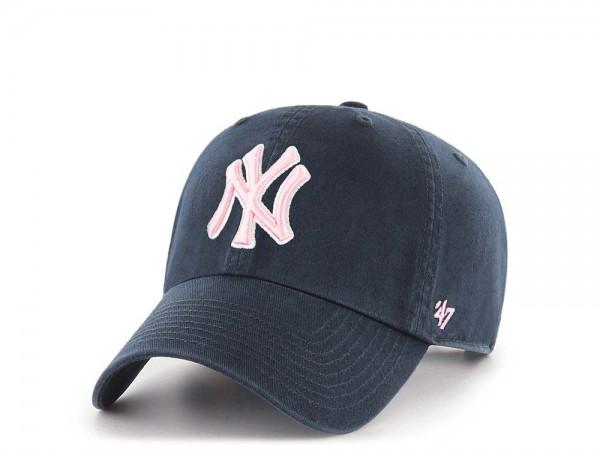 47Brand New York Yankees Clean Up Pink Logo Strapback Cap