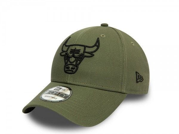 New Era Chicago Bulls Olive Outline 9Forty Adjustable Cap