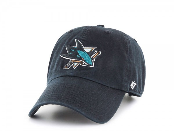 47Brand San Jose Sharks Black Clean up Strapback Cap